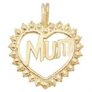 9ct Gold Mum in heart Pendant 0.7g